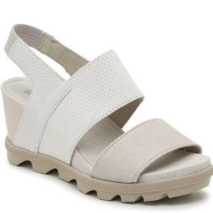 NEW Sorel Joanie Wedge Slingback Sandals 8 White